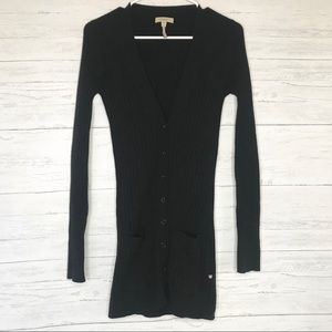 Burberry Black Cashmere Ribbed Knit Long Cardigan